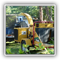 Wood chipper used by clean-up crew
